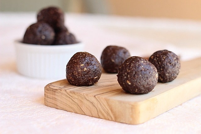 dark chocolate raisi  truffles   oatmeal with a fork