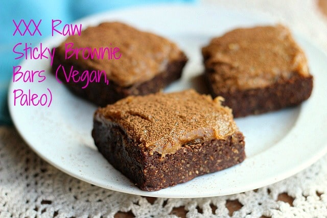 XXX Raw Sticky Brownie Bars (Vegan, Paleo) 11