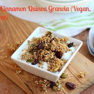 Maple Cinnamon Quinoa Granola (Vegan, Nut-Free)