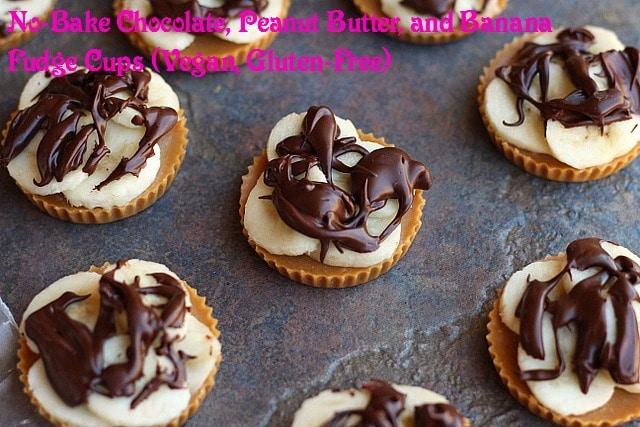 No-Bake Chocolate, Peanut Butter, and Banana Fudge Cups (Vegan, Gluten-Free)