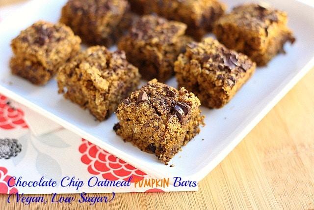 Chocolate Chip Oatmeal Pumpkin Bars (Vegan, Low Sugar)