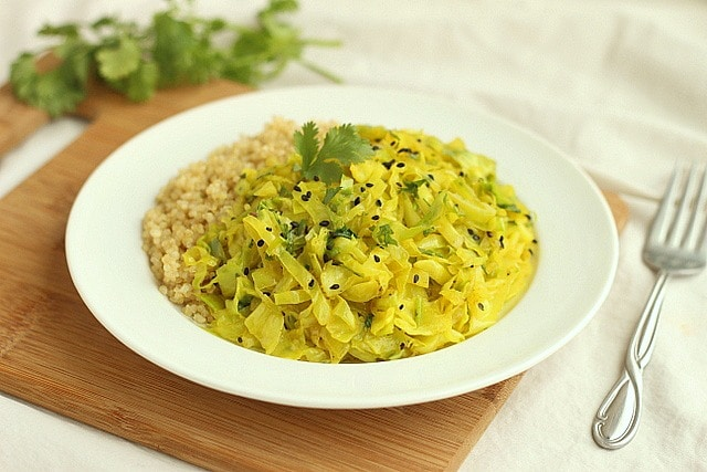 Turmeric Cabbage Saute with Onions and Cilantro Stems 4