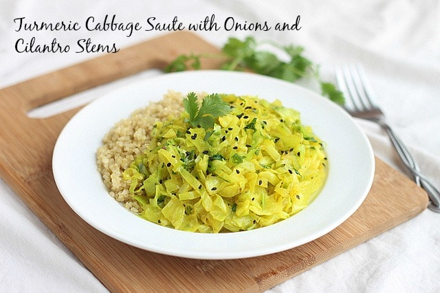 Turmeric Cabbage Saute with Onions and Cilantro Stems