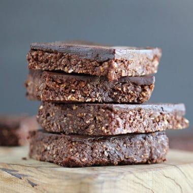 Raw fudgy brownies with chocolate icing
