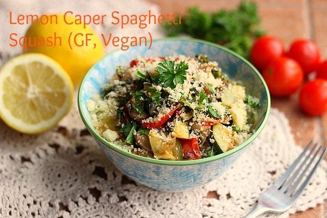 Lemon Caper Spaghetti Squash (GF, Vegan)