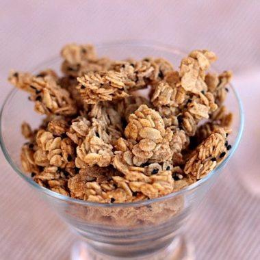 Peanut butter granola in a cup
