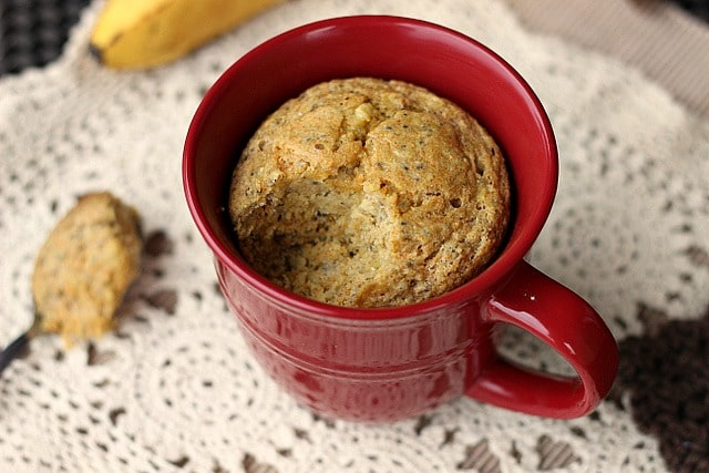 Banana cornbread mug cake made with oats