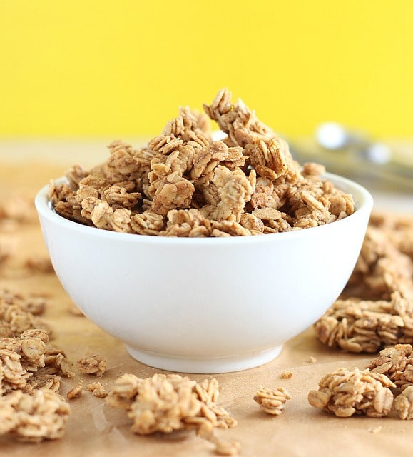 Peanut butter granola made with coconut oil