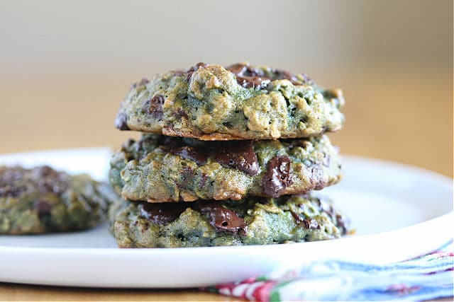 Green Sunbutter and oatmeal cookies without oil