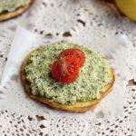 Low-Fat Broccoli Pesto with Herb Coconut Flatbread (Paleo)
