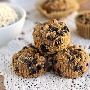 Cinnamon Blueberry Oat Muffins