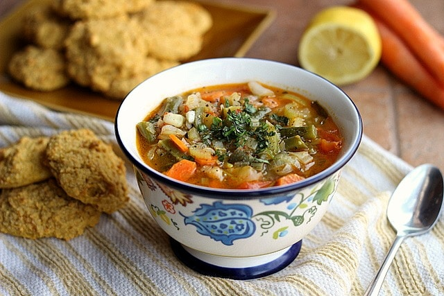 Hearty Vegetable Soup with Sweet Potato Biscuits (Vegan, Gluten-Free)