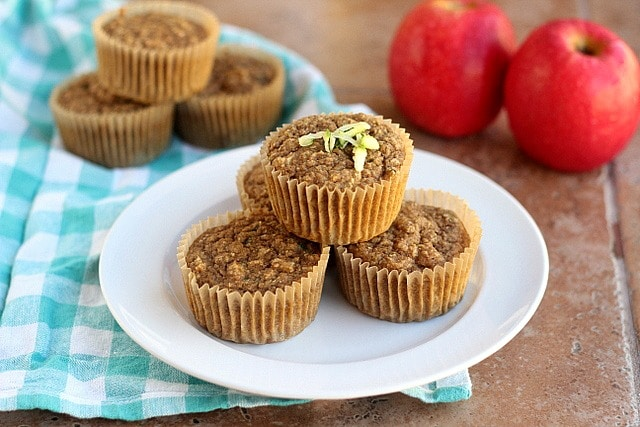 Autumn-Spiced Zucchini Apple Muffins (Vegan) - Oatmeal ...