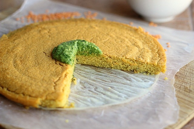 Curried Red Lentil Flatbread with Arugula Pesto (GF, Nut-Free) 4