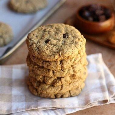 Healthy oatmeal raisin cookie stack