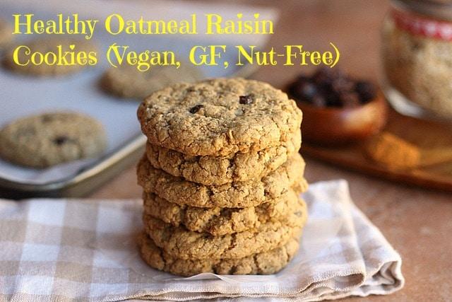 Healthy Oatmeal Raisin Cookies (V, GF, Nut-Free)