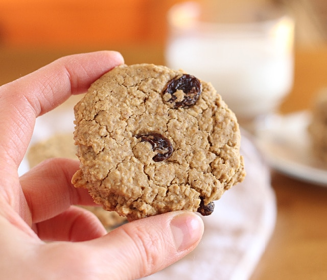 Gluten-free oatmeal raisin cookies with buckwheat