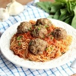 Whole grain spaghetti noodles with baked meatballs recipe