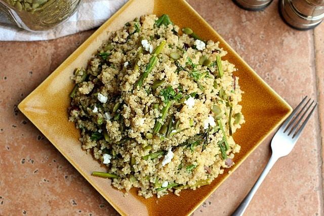 Spring Break Quinoa and Asparagus Salad (GF, Vegan Option) 3