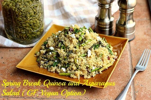 Spring Break Quinoa and Asparagus Salad (GF, Vegan Option)