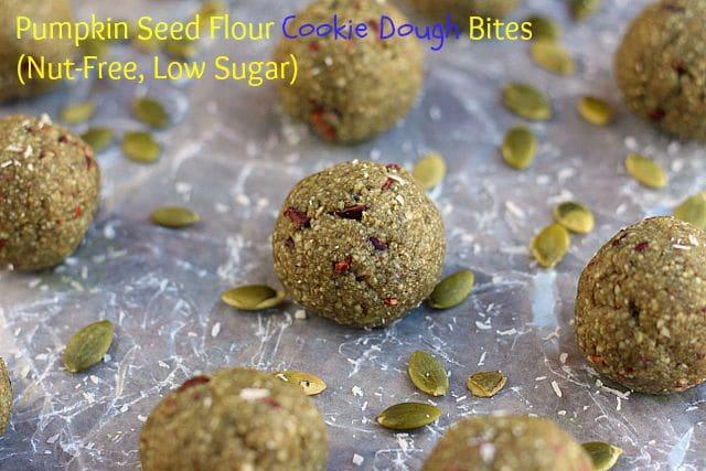 Pumpkin Seed Flour Cookie Dough Bites (Nut-Free, Low Sugar)