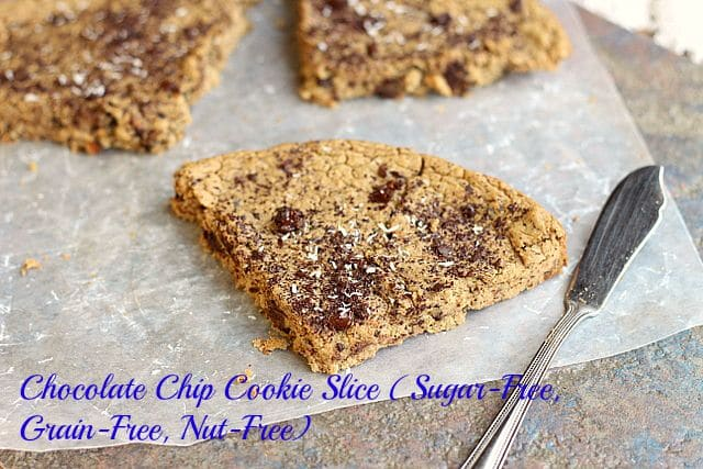 Chocolate Chip Cookie Slice (Sugar-Free, Grain-Free, Nut-Free)