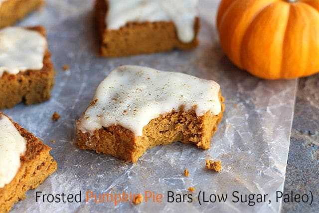 Frosted Pumpkin Pie Bars (Low Sugar, Paleo)
