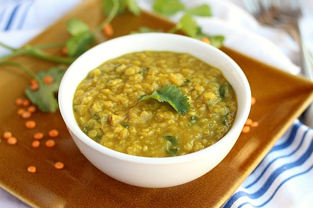 Vegan red lentil dal made without tomatoes