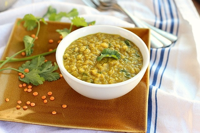 Tomato-free red lentil dal recipe with turmeric