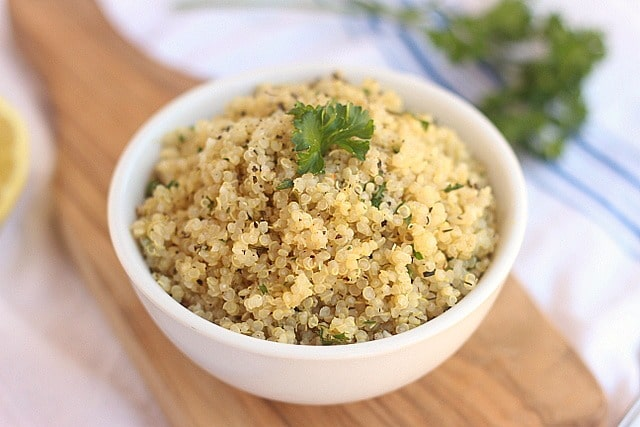 Quinoa pilaf made with dried herbs and fresh lemon juice