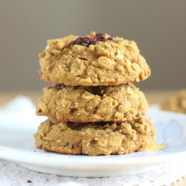 Stack of low sugar breakfast cookies