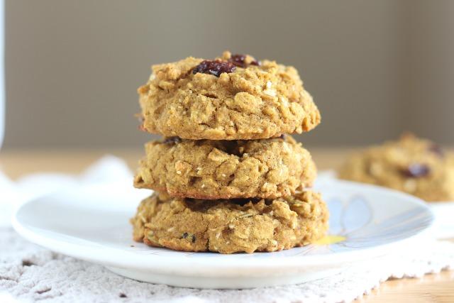 Stack of low sugar breakfast cookies