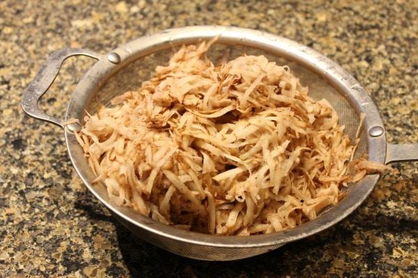 Potato latkes grated potatoes