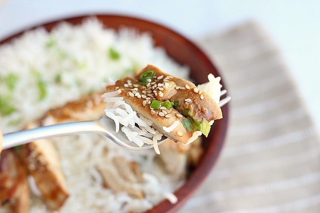 Teriyaki chicken and white rice on a fork.