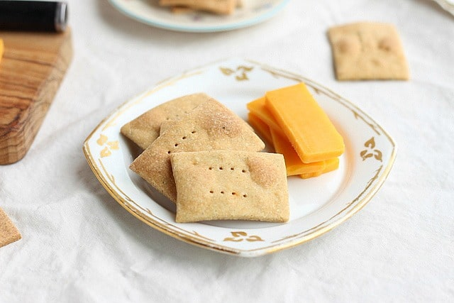 Homemade crackers with cheddar cheese