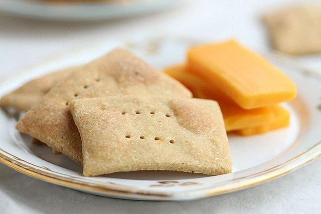 No sugar crackers on a plate