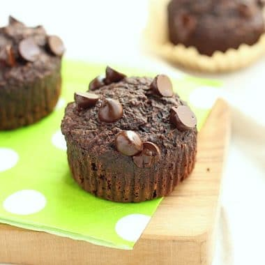 Chocolate zucchini muffins with oat flour