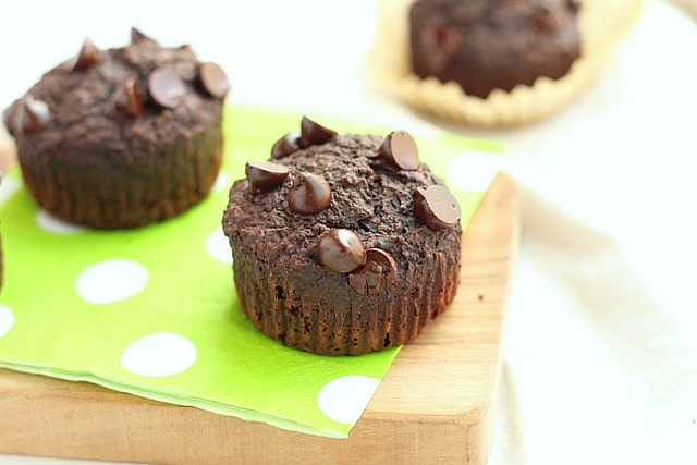 Lower Sugar Chocolate Zucchini Muffins