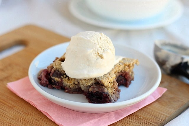 Cherries and oats in a cobbler cake