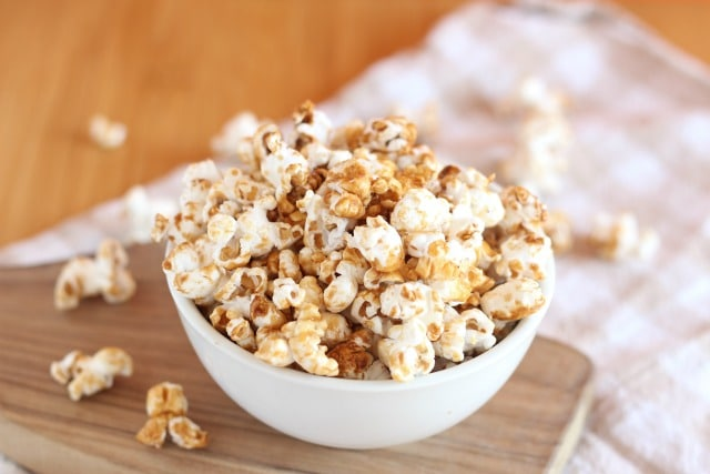 Healthy caramel corn recipe with coconut oil