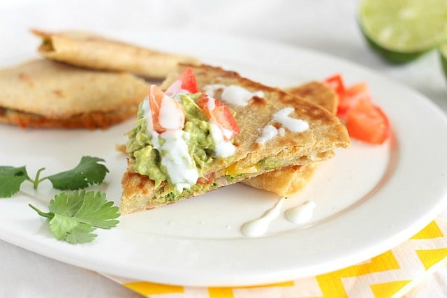 Baked vegetarian quesadilla with cheese