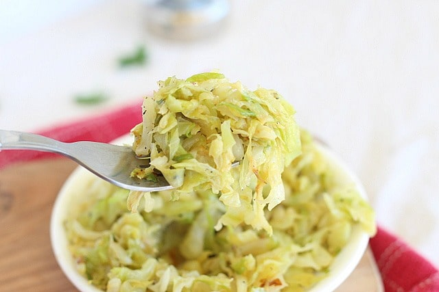Caramelized cabbage with butter or olive oil