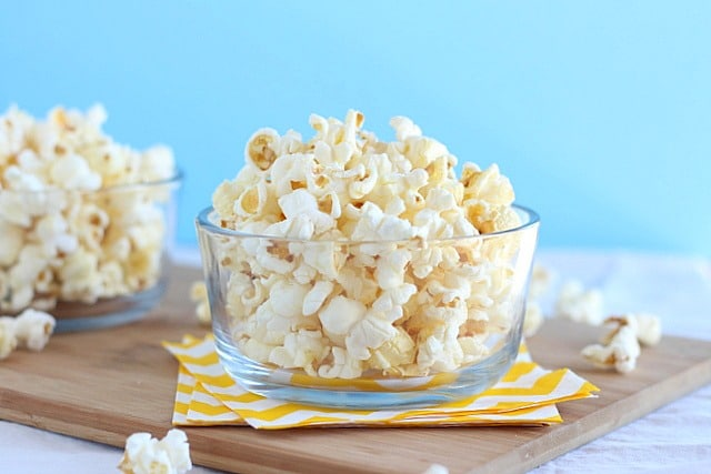 Air popped organic popcorn