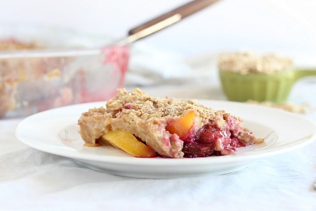 peach and berry cobbler made without oil or butter