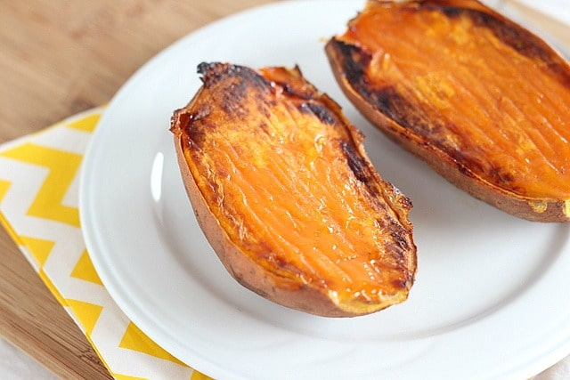 Healthy easy baked sweet potatoes