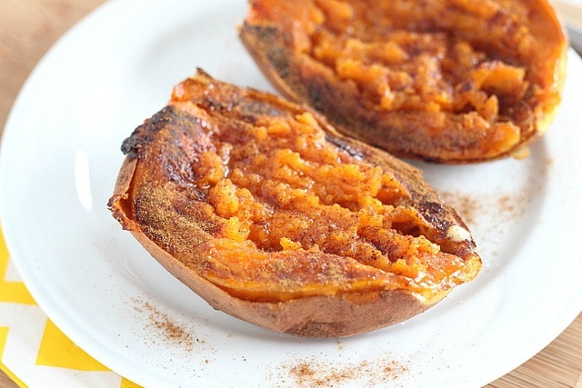 Fast baked sweet potato with maple syrup