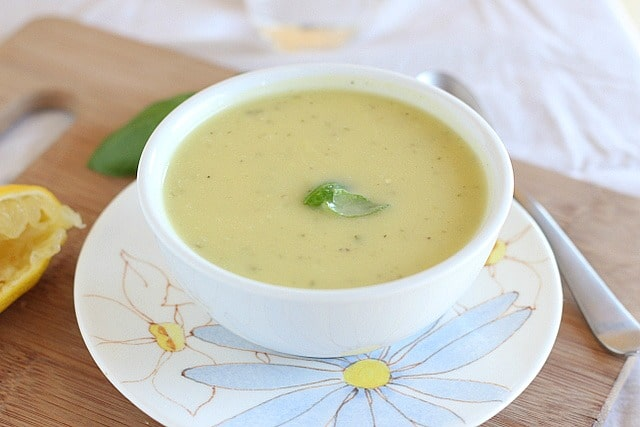 yellow squash soup with basil made in a pressure cooker