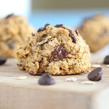Sweet potato chocolate chip cookies made with oats
