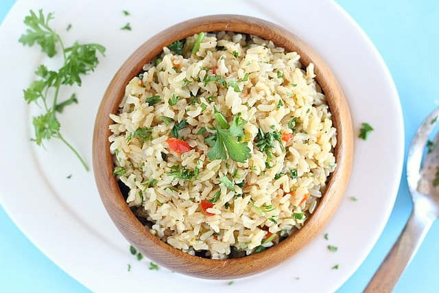 Instant Pot brown rice with herbs and vegetables