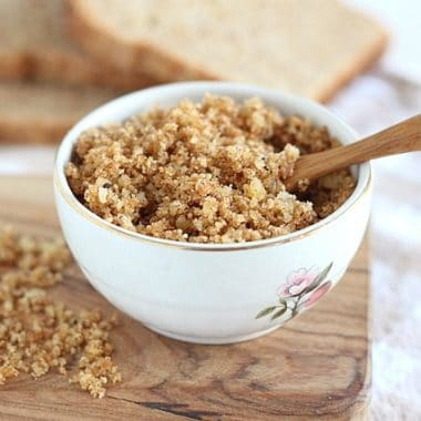 Homemade parmesan breadcrumbs with sprouted bread